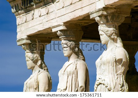 Caryatides, Acropolis of Athens, Greece - stock photo
