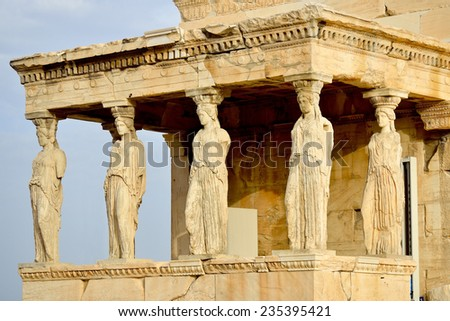 Caryatides, Erechteion, Parthenon on the Acropolis in Athens, Greece