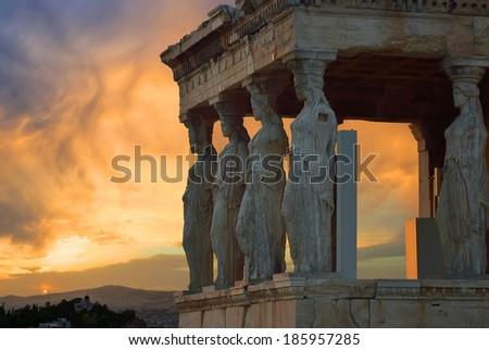 Caryatids Acropolis - stock photo