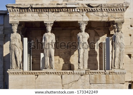 Caryatids ancient statues, erechteion temple, Athens Greece - stock photo
