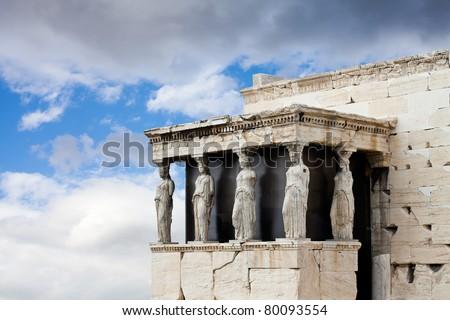 Caryatids at the Temple of Erectheion, Acropolis, Athens, Greece - stock photo