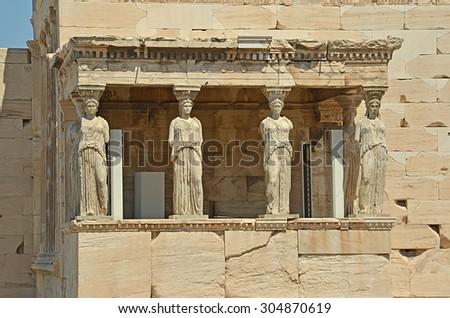 caryatids Athens Greece - stock photo