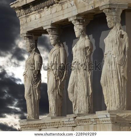 Caryatids, erechtheum temple on Acropolis of Athens, Greece - stock photo