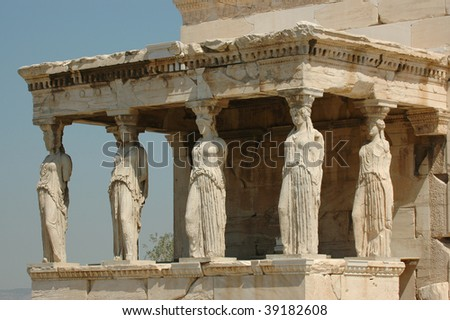 Caryatids in Athens, Greece - stock photo