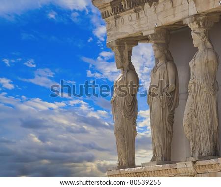 Caryatids in Erechtheum, Acropolis,Athens,Greece - stock photo