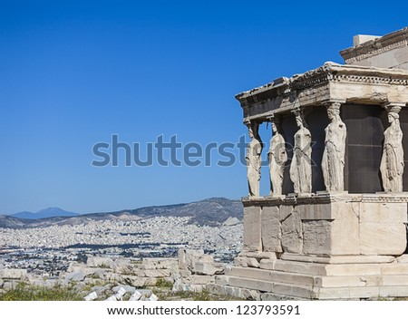 Caryatids in Erechtheum from Acropolis in Athens,Greece - stock photo