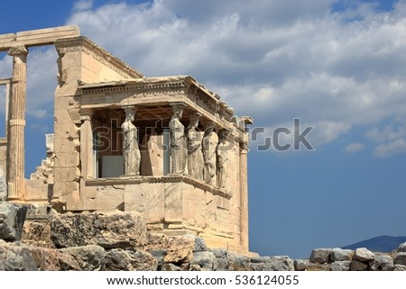 Caryatids of Erechtheion in Athens Acropolis, Greece