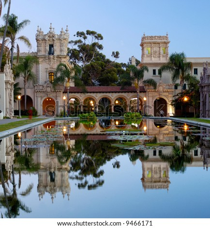 Casa De Balboa at dawn, Balboa Park, San Diego - stock photo