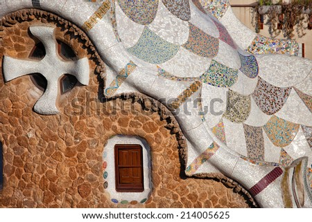 Casa del Guarda architectural details by Antoni Gaudi in Park Guell, Barcelona, Catalonia, Spain. - stock photo