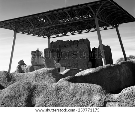 Casa Grande Ruins National Monument of the Hohokam Indians in Arizona USA - stock photo