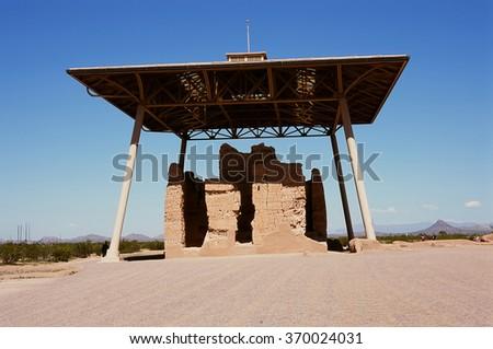 Casa Grande Ruins National Monument of the Pre-columbian Hohokam Indians in Arizona USA - stock photo