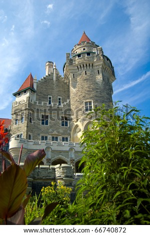Casa Loma, Canada's famous castle is a major tourist attraction in Toronto. This picture was taken from the lower terrace./Casa Loma - stock photo
