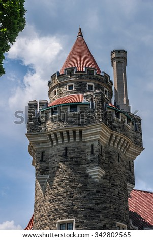 Casa Loma (1911 - 1914) - Gothic Revival style house and gardens in midtown Toronto. Casa Loma is now a museum and landmark. Ontario, Canada. - stock photo