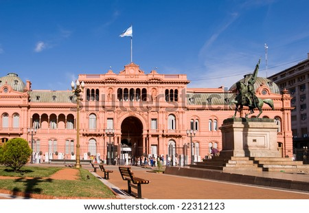 Casa Rosada (Pink House) Presidential Palace of Argentina - stock photo