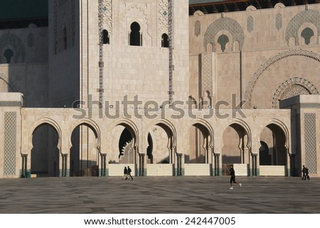 casablanca hassan mosque according to the largest of morocco - stock photo