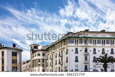 Casablanca, Morocco. Historical hotel building  - stock photo