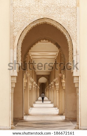 Casablanca, Morocco: Intricate exterior marble and mosaic stone archway outside of Hassan II Mosque in Casablanca, Morocco. - stock photo