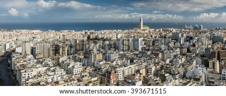 CASABLANCA, MOROCCO - MARCH 20: Casablanca panoramic skyline with the Hassan II Mosque and residential districts in Morocco on March 20, 2016.