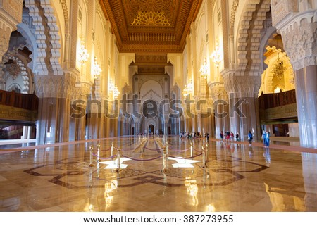 Casablanca, Morocco - September 9, 2015: Great praying hall of Hassan II mosque