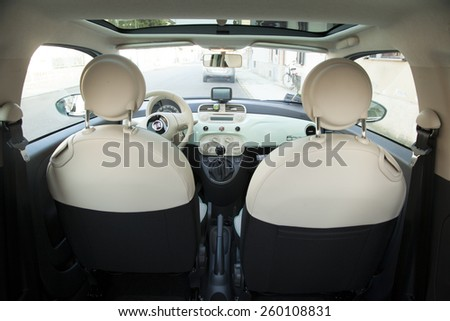 CASALE MONFERRATO, MARCH 10, 2015: inside a Fiat 500. Fiat is a subdivision group of great autumobiles group FCA. - stock photo