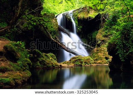 Cascada La Vaioaga in Cheile Nerei national park -Romania - stock photo
