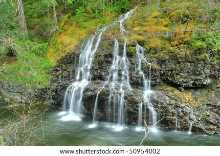 Cascade and waterfall in sooke potholes  regional park, vancouver island, bc, canada