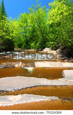 Cascade at Nonesuch Falls in the Porcupine Mountains Wilderness State Park of Michigan - stock photo