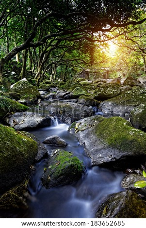 Cascade falls over mossy rocks at day - stock photo