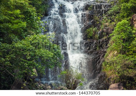 cascade in the jungle - stock photo