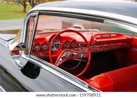 CASCADE, MD  OCTOBER 19:  Interior detail of a Chevy Impala at the King of the Mountain Car Show on October 19, 2013 in Cascade, MD.  Proceeds from the event benefit the Children's Miracle Network. - stock photo