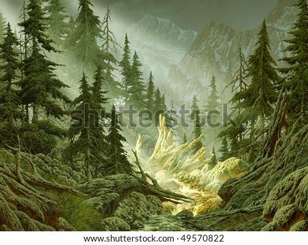 Cascade Mountain Stream - stock photo