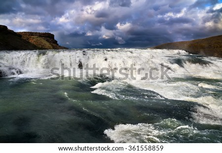 Cascade of Gullfoss (Golden waterfall), Iceland