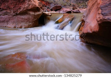 Cascade on the Virgin River by Narrows Canyon in Zion National Park - stock photo