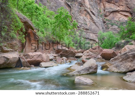 Cascades along the Virgin River on the Riverside Walk trail, at Zion National Park, Utah - stock photo
