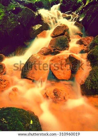 Cascades in rapid stream of mineral water. Red ferric sediments on big boulders between green ferns. Foamy level of red mineral water. Natural photography, any effect.. - stock photo