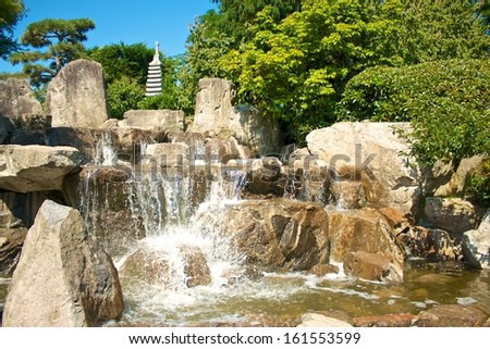 Cascades in the Japanese gardens of Freiburg Seepark, Germany