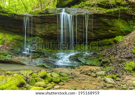 cascades waterfall in the eifel national park at the Butzerbachtal in spring - stock photo