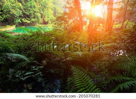 Cascades waterfall in the jungles of Guatemala, Semuc Champey - stock photo