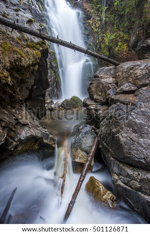Cascading falls creek northeast of Winthrop, Washington.