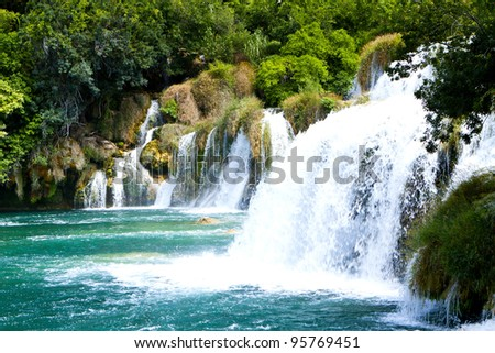 Cascading Water. Krka Waterfall National Park in Croatia. - stock photo