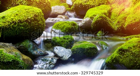 Cascading Waterfall Fresh Nature Green Environment Concept - stock photo