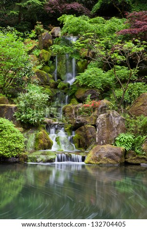 Cascading waterfall in japanese garden at portland - stock photo