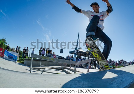CASCAIS, PORTUGAL - APRIL 6 2014: Afonso Nery during the 4th Stage of the DC Skate Challenge by Fuel TV.