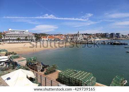 Cascais, Portugal. April 26, Hotel on the beach at a picturesque Portuguese fishing village, on April 26, 2016 in Cascais Portugal - stock photo