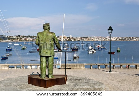 CASCAIS, PORTUGAL - SEPTEMBER 30, 2015: King Charles I of Portugal looking at the Bay of Cascais, on September 30, 2015, in Cascais, Portugal - stock photo