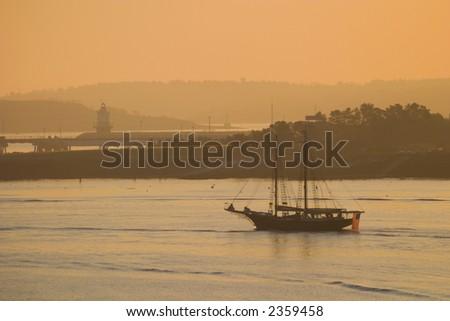 Casco Bay Schooner - stock photo