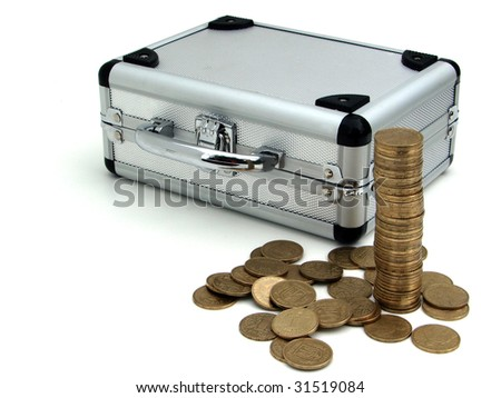 case and coins - stock photo