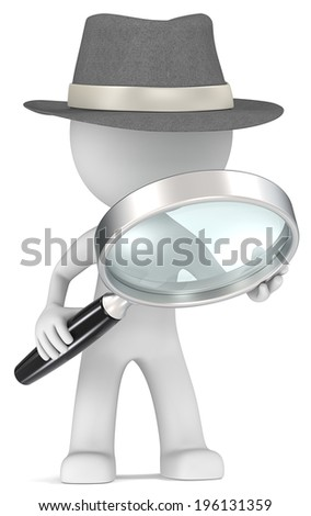 Case. Dude the detective with magnifying glass. Film Noir style. - stock photo