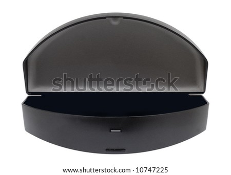 Case for sunglasses with black bottom on white background - stock photo