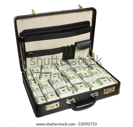 case full of dollar - stock photo